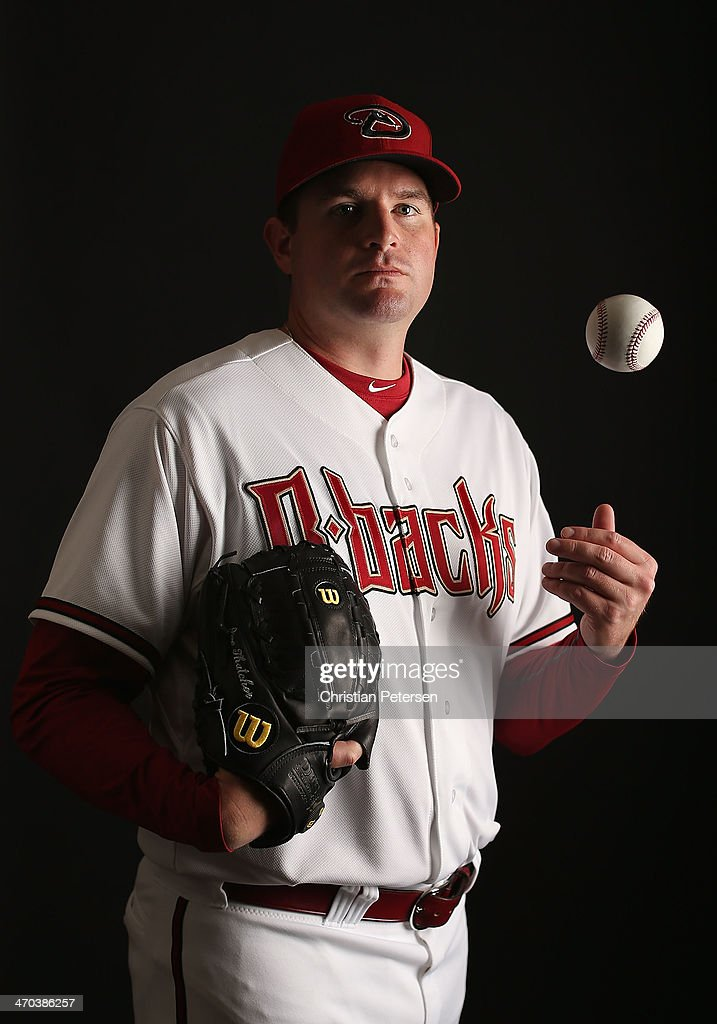 Pitcher Joe Thatcher #54 of the Arizona Diamondbacks poses for a portrait during spring training photo day at Salt River Fields at Talking Stick on February 19, 2014 in Scottsdale, Arizona.