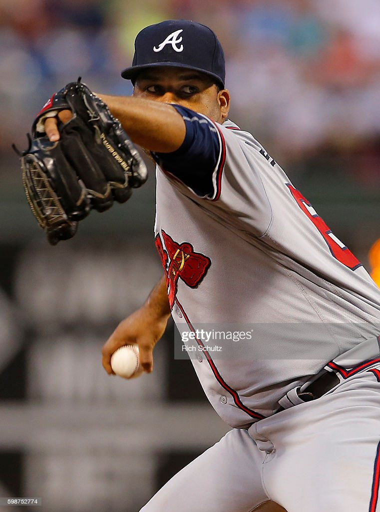 Pitcher Joel De La Cruz #60 of the Atlanta Braves delivers a pitch against the Philadelphia Phillies during the first inning of a game at Citizens Bank Park on September 2, 2016 in Philadelphia, Pennsylvania.