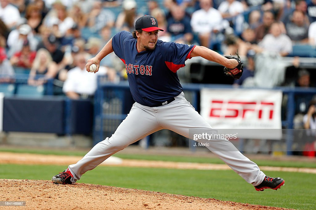 Pitcher <a gi-track='captionPersonalityLinkClicked' href=/galleries/search?phrase=Joel+Hanrahan&family=editorial&specificpeople=2527864 ng-click='$event.stopPropagation()'>Joel Hanrahan</a> #52 of the Boston Red Sox pitches against the New York Yankees during a Grapefruit League Spring Training Game at George M. Steinbrenner Field on March 20, 2013 in Tampa, Florida.