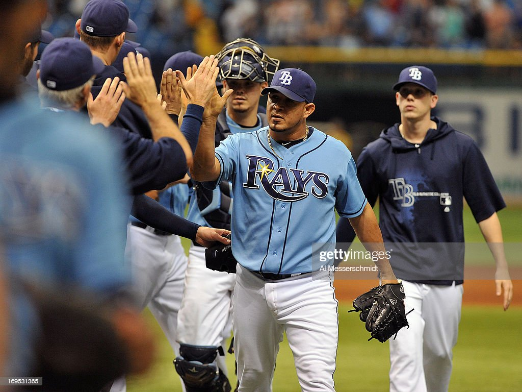 Pitcher Joel Peralta #62 of the Tampa Bay Rays celebrates after throwing in relief against the New York Yankees May 26, 2013 at Tropicana Field in St. Petersburg, Florida. The Rays won 8 - 3.