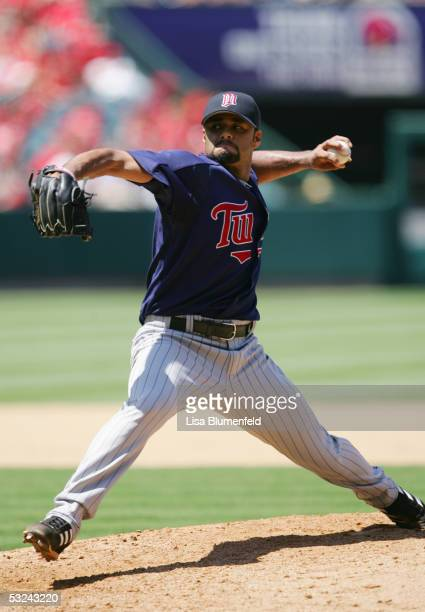 Pitcher Johan Santana of the Minnesota Twins throws against the Los Angeles Angels of Anaheim during the MLB game on July 6 2005 at Angel Stadium in...