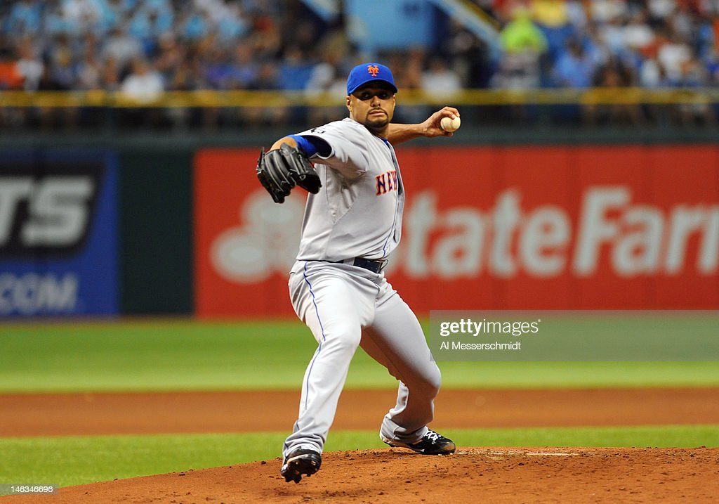 Pitcher <a gi-track='captionPersonalityLinkClicked' href=/galleries/search?phrase=Johan+Santana&family=editorial&specificpeople=213115 ng-click='$event.stopPropagation()'>Johan Santana</a> #57 of the New York Mets starts against the Tampa Bay Rays June 14, 2012 at Tropicana Field in St. Petersburg, Florida.