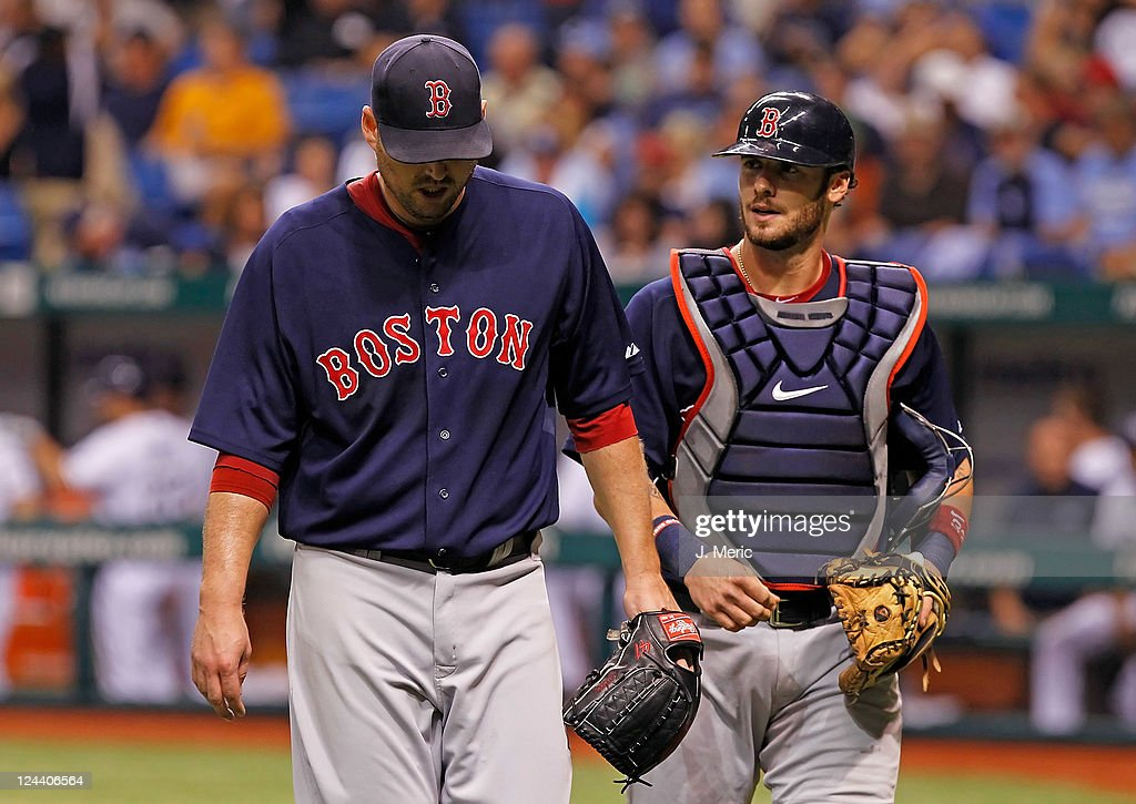 Pitcher John Lackey #41 of the Boston Red Sox leaves the game after the third inning against the Tampa Bay Rays during the game at Tropicana Field on September 9, 2011 in St. Petersburg, Florida.
