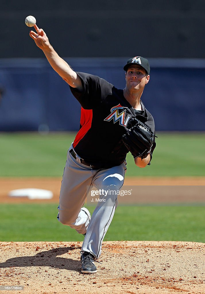 Pitcher <a gi-track='captionPersonalityLinkClicked' href=/galleries/search?phrase=John+Maine&family=editorial&specificpeople=655977 ng-click='$event.stopPropagation()'>John Maine</a> #73 of the Miami Marlins pitches against the New York Yankees during a Grapefruit League Spring Training Game at George M. Steinbrenner Field on March 15, 2013 in Tampa, Florida.