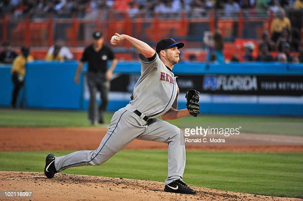 Pitcher John Maine of the New York Mets pitches during a MLB game against the Florida Marlins in Sun Life Stadium on May 15 2010 in Miami Florida