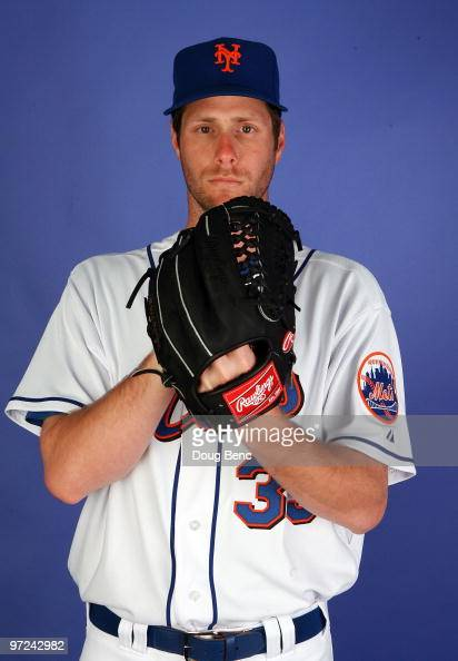 Pitcher John Maine of the New York Mets poses during photo day at Tradition Field on February 27 2010 in Port St Lucie Florida