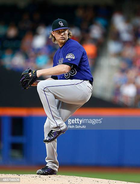 Pitcher Jon Gray of the Colorado Rockies on the mound against the New York Mets during the first inning on August 10 2015 at Citi Field in the...