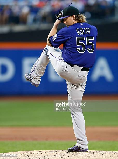 Pitcher Jon Gray of the Colorado Rockies on the mound against the New York Mets on August 10 2015 at Citi Field in the Flushing neighborhood of the...
