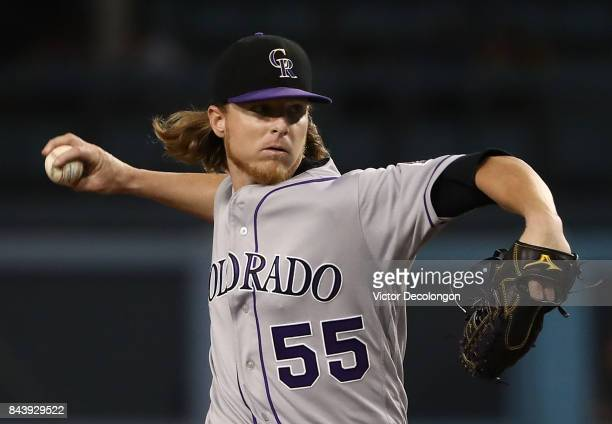 Pitcher Jon Gray of the Colorado Rockies pitches during the first inning of the MLB game against the Los Angeles Dodgers at Dodger Stadium on...