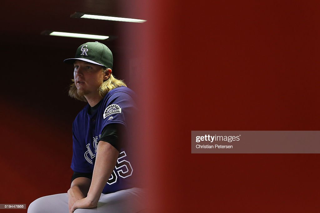 Pitcher Jon Gray #55 of the Colorado Rockies sits in the dugout during the MLB game against the Arizona Diamondbacks at Chase Field on April 6, 2016 in Phoenix, Arizona.