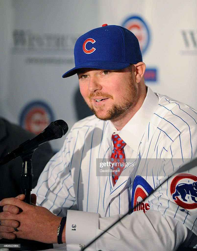 Pitcher <a gi-track='captionPersonalityLinkClicked' href=/galleries/search?phrase=Jon+Lester&family=editorial&specificpeople=832746 ng-click='$event.stopPropagation()'>Jon Lester</a> speaks during an introduction press conference by the Chicago Cubs on December 15, 2014 in Chicago, Illinois.