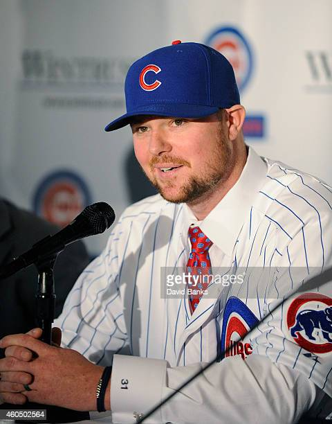 Pitcher Jon Lester speaks during an introduction press conference by the Chicago Cubs on December 15 2014 in Chicago Illinois