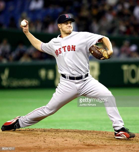 Pitcher Jonathan Papelbon of Boston Red Sox pitches during preseason friendly between Boston Red Sox and Hanshin Tigers at Tokyo Dome on March 22...