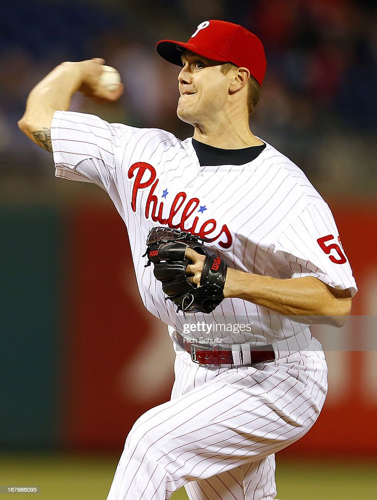 Pitcher <a gi-track='captionPersonalityLinkClicked' href=/galleries/search?phrase=Jonathan+Papelbon&family=editorial&specificpeople=453535 ng-click='$event.stopPropagation()'>Jonathan Papelbon</a> #58 of the Philadelphia Phillies delivers a pitch against the Miami Marlins in a MLB baseball game on May 3, 2013 at Citizens Bank Park in Philadelphia, Pennsylvania. The Phillies defeated the Marlins 4-1.