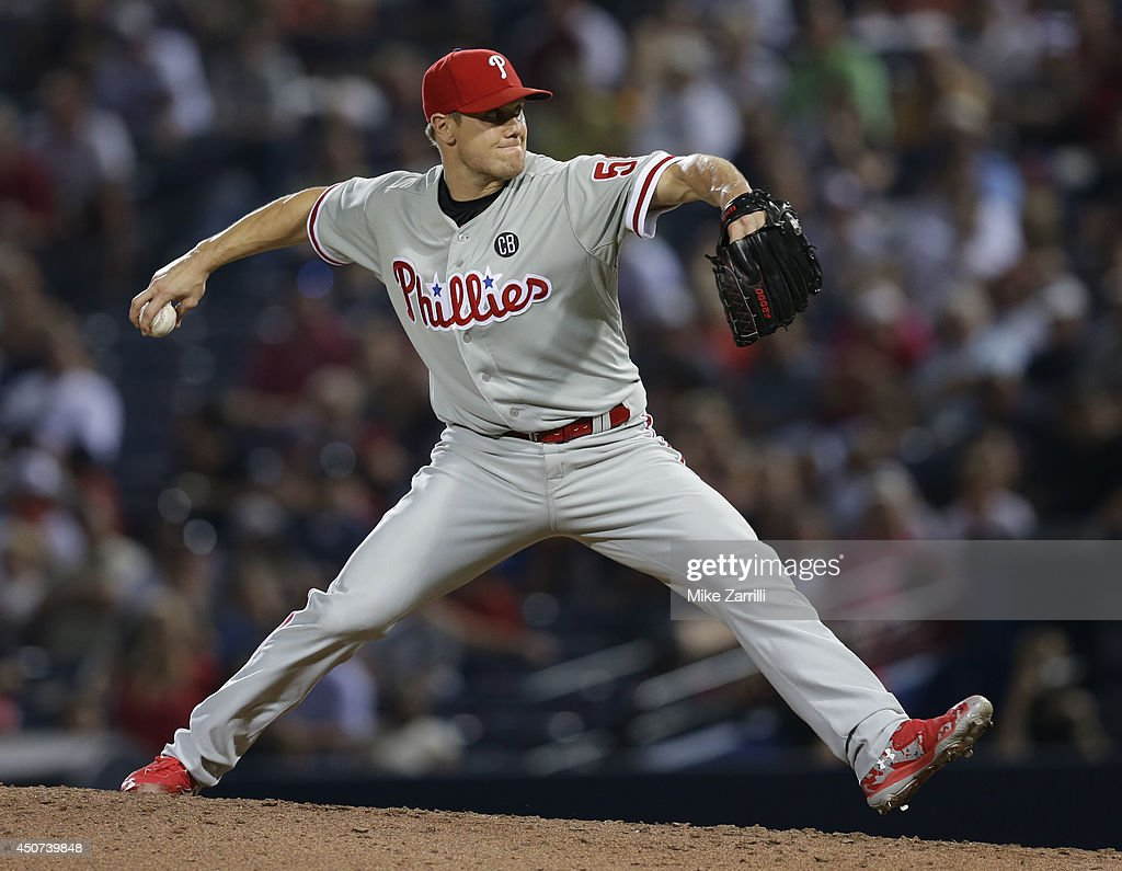 Pitcher <a gi-track='captionPersonalityLinkClicked' href=/galleries/search?phrase=Jonathan+Papelbon&family=editorial&specificpeople=453535 ng-click='$event.stopPropagation()'>Jonathan Papelbon</a> #58 of the Philadelphia Phillies throws a pitch in the ninth inning during the game against the Atlanta Braves at Turner Field on June 16, 2014 in Atlanta, Georgia.
