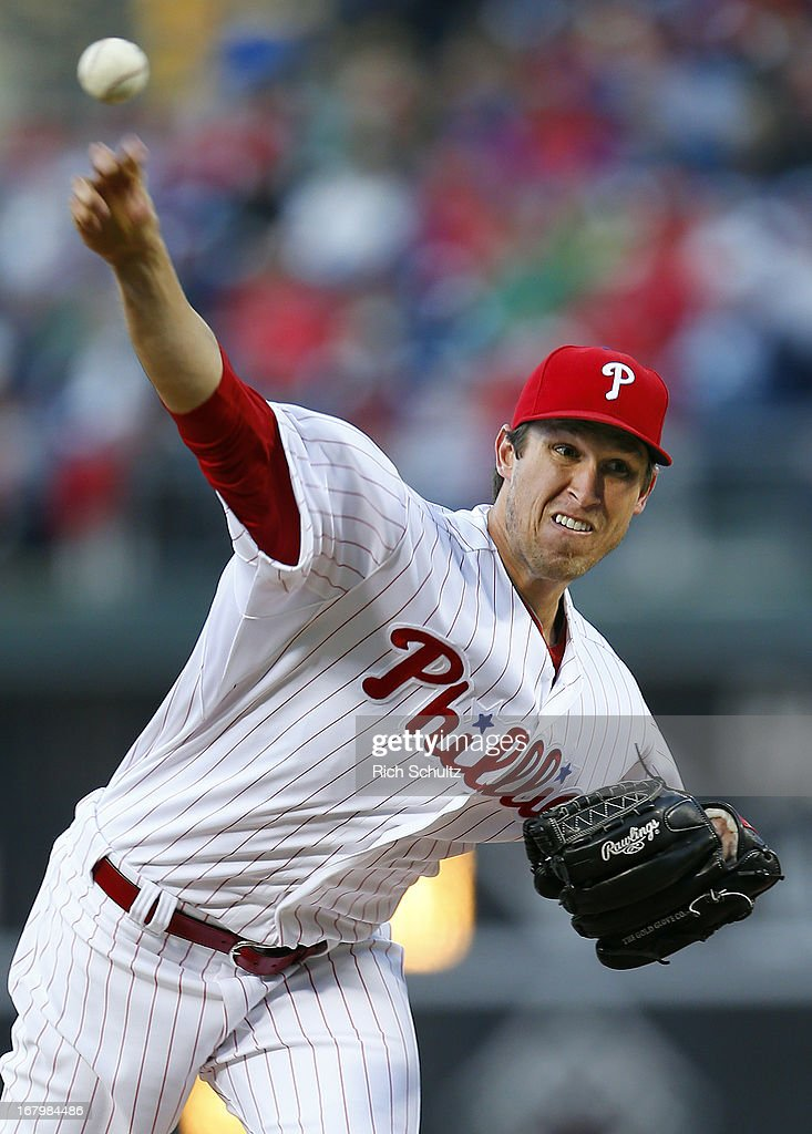 Pitcher Jonathan Pettibone #44 of the Philadelphia Phillies delivers a pitch against the Miami Marlins in a MLB baseball game on May 3, 2013 at Citizens Bank Park in Philadelphia, Pennsylvania. The Phillies defeated the Marlins 4-1.