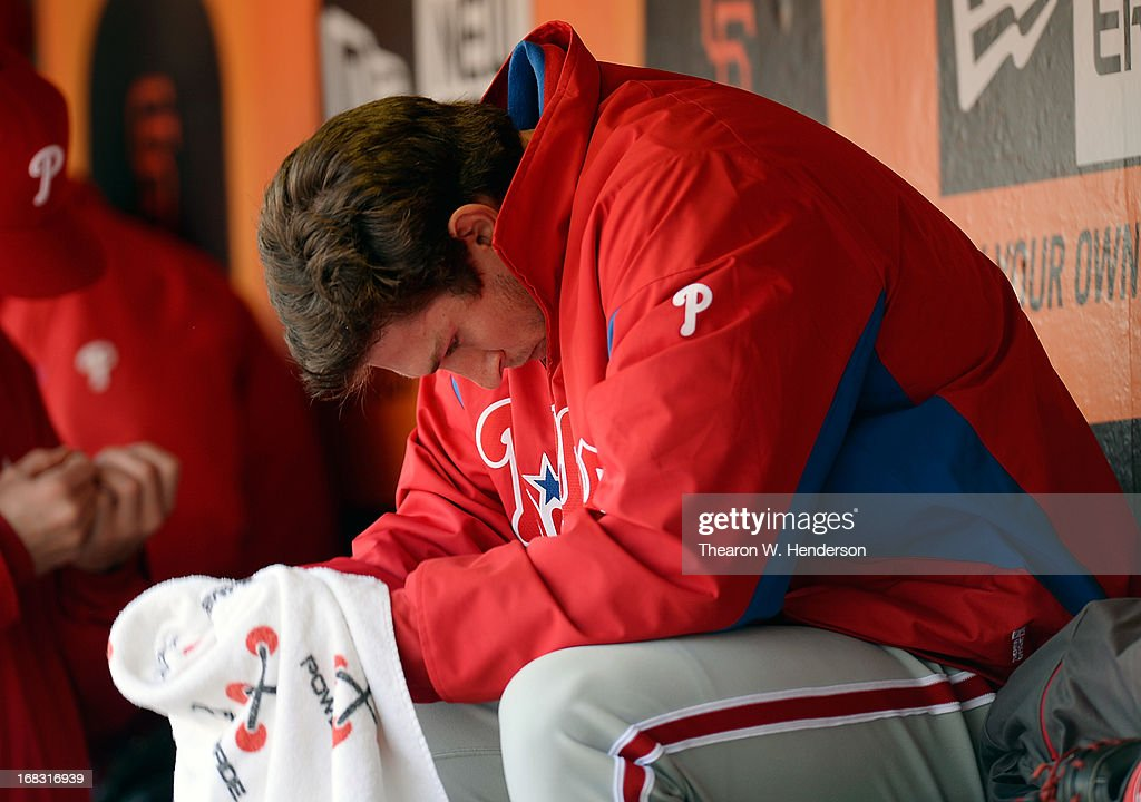 Pitcher <a gi-track='captionPersonalityLinkClicked' href=/galleries/search?phrase=Jonathan+Pettibone&family=editorial&specificpeople=10524568 ng-click='$event.stopPropagation()'>Jonathan Pettibone</a> #44 of the Philadelphia Phillies sits in the dugout after he was taken out of the game against the San Francisco Giants in the sixth inning at AT&T Park on May 8, 2013 in San Francisco, California.