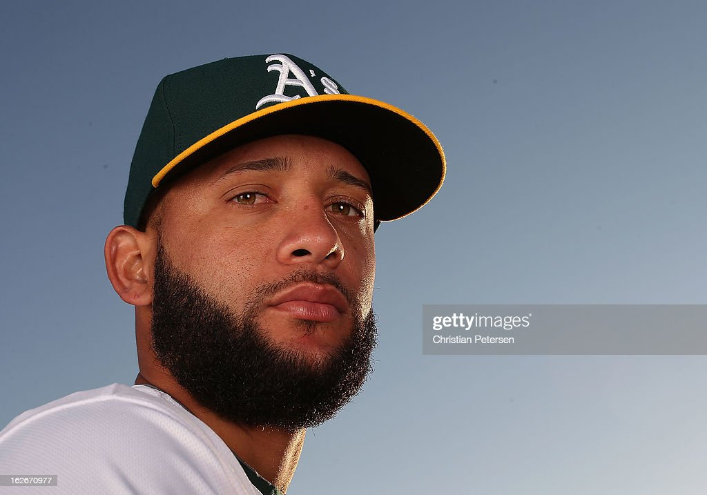 Pitcher Jordan Norberto #77 of the Oakland Athletics poses for a portrait during the spring training photo day at Phoenix Municipal Stadium on February 18, 2013 in Phoenix, Arizona.