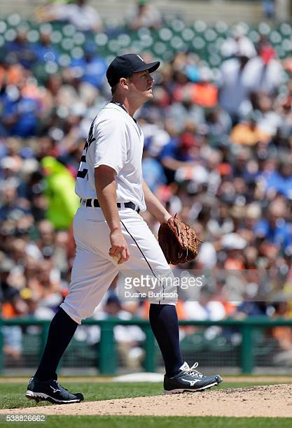 Pitcher Jordan Zimmermann of the Detroit Tigers walks back to the mound after giving up a threerun home run to Josh Donaldson of the Toronto Blue...