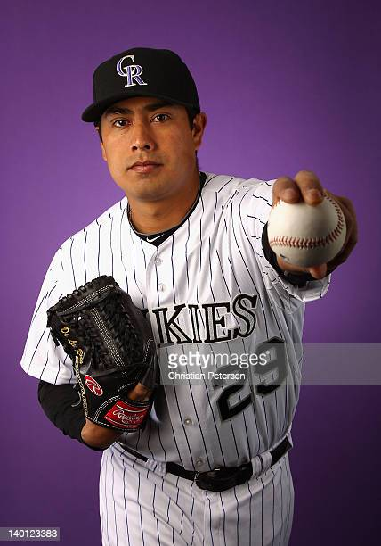Pitcher Jorge De La Rosa of the Colorado Rockies poses for a portrait during spring training photo day at Salt River Fields at Talking Stick on...