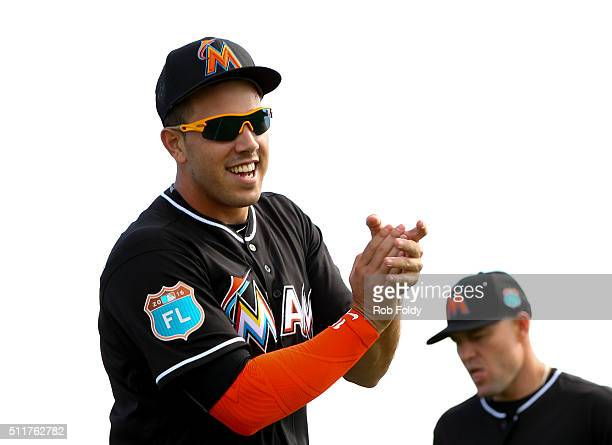 Pitcher Jose Fernandez during a Miami Marlins workout on February 22 2016 in Jupiter Florida