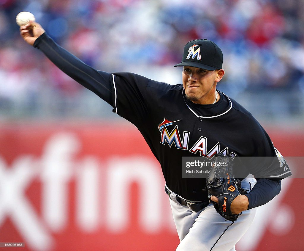 Pitcher Jose Fernandez #16 of the Miami Marlins delivers a pitch against the Philadelphia Phillies in a MLB baseball game on May 4, 2013 at Citizens Bank Park in Philadelphia, Pennsylvania.