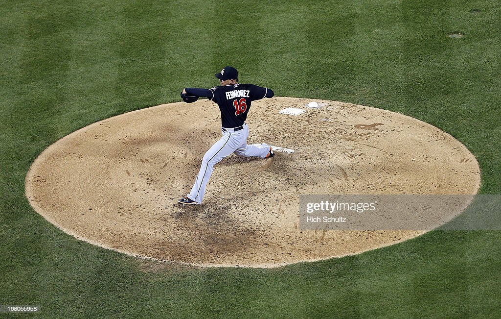 Pitcher Jose Fernandez #16 of the Miami Marlins delivers a pitch against the Philadelphia Phillies in a MLB baseball game on May 4, 2013 at Citizens Bank Park in Philadelphia, Pennsylvania. The Marlins defeated the Phillies 2-0.