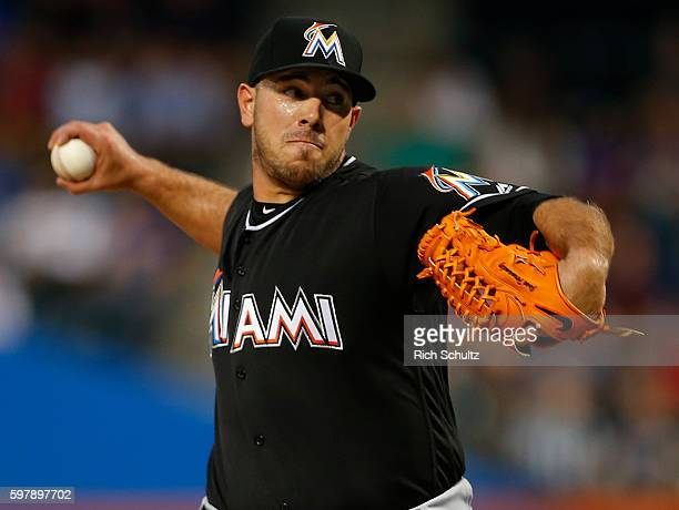 Pitcher Jose Fernandez of the Miami Marlins delivers a pitch against the New York Mets during the first inning of a game at Citi Field on August 29...