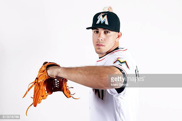 Pitcher Jose Fernandez of the Miami Marlins poses for photos on media day at Roger Dean Stadium on February 24 2016 in Jupiter Florida