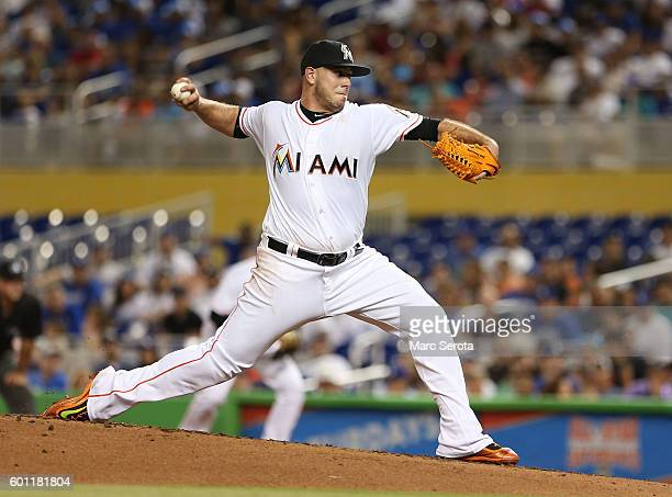 Pitcher Jose Fernandez of the Miami Marlins throws against the Los Angeles Dodgers at Marlin Park on September 9 2016 in Miami Florida