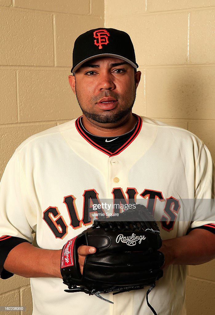 Pitcher Jose Mijares #50 poses for a portrait during San Francisco Giants Photo Day on February 20, 2013 in Scottsdale, Arizona.