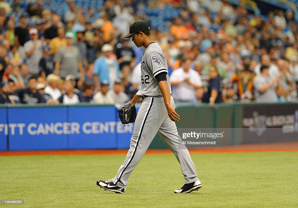 Pitcher Jose Quintana #62 of the Chicago White Sox leaves the mound after he is ejected against the Tampa Bay Rays May 30, 2012 at Tropicana Field in St. Petersburg, Florida.