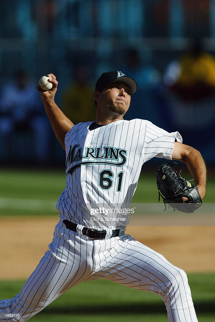 931ffb939 ... Pitcher Josh Beckett 61 of the Florida Marlins pitches against the  Philadelphia Phillies during opening ...