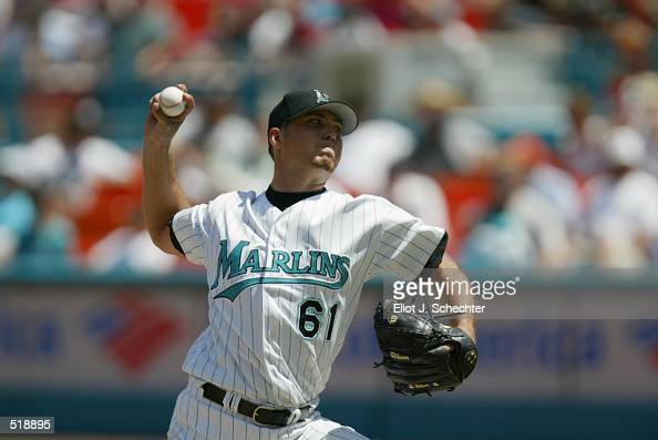 Pitcher Josh Beckett of the Florida Marlins throws a pitch during the MLB game against the Arizona Diamondbacks at Pro Player Stadium in Miami...