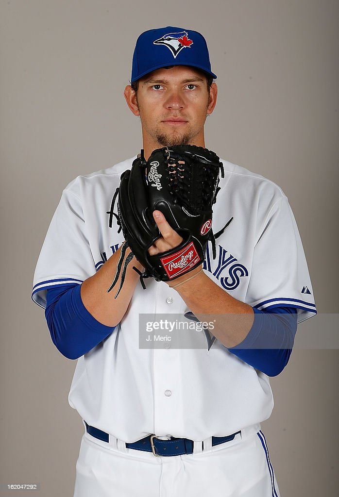 Pitcher Josh Johnson #55 of the Toronto Blue Jays poses for a photo during photo day at Florida Auto Exchange Stadium on February 18, 2013 in Dunedin, Florida.