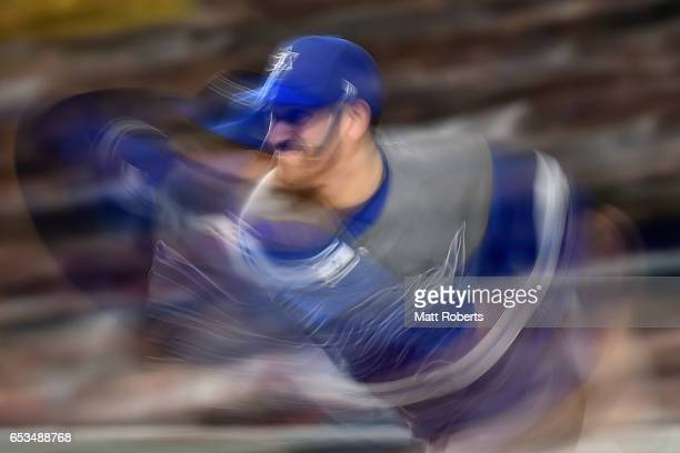 Pitcher Josh Zeid of Israel throws in the bottom of the second inning during the World Baseball Classic Pool E Game Six between Israel and Japan at...