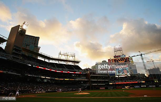 Pitcher Josn Smoltz of the Atlanta Braves pitches against the San Diego Padres during their MLB game at Petco Park on May 22 2006 in San Diego...