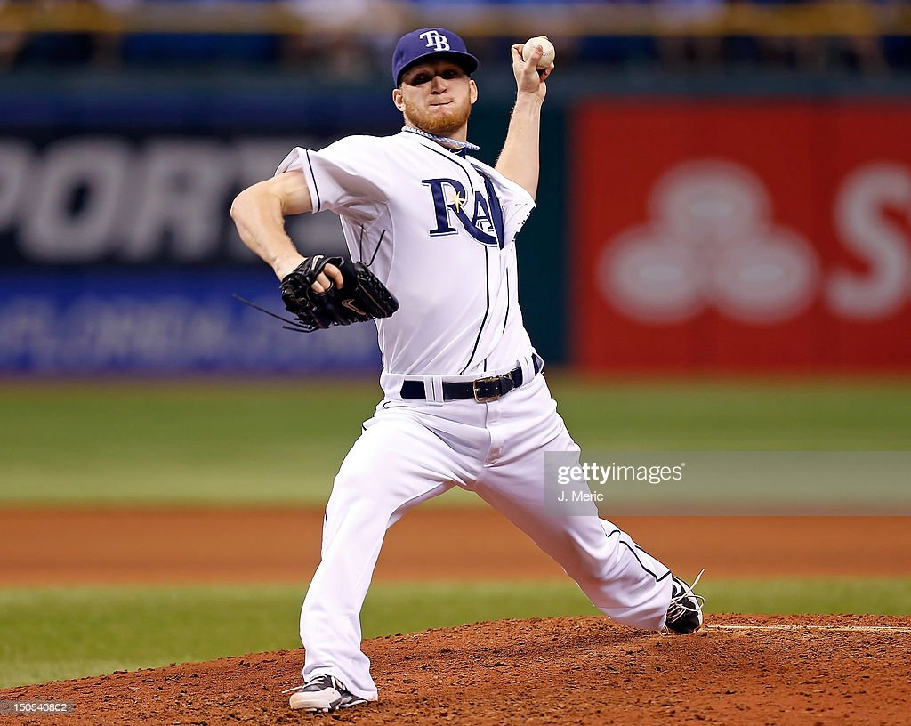 Pitcher <a gi-track='captionPersonalityLinkClicked' href=/galleries/search?phrase=J.P.+Howell&family=editorial&specificpeople=794363 ng-click='$event.stopPropagation()'>J.P. Howell</a> #39 of the Tampa Bay Rays pitches against the Kansas City Royals during the game at Tropicana Field on August 20, 2012 in St. Petersburg, Florida.