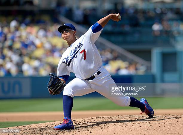 Pitcher Julio Urias of the Los Angeles Dodgers throws against Chicago Cubs during the fourth inning of the baseball game at Dodger Stadium August 27...