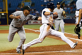Pitcher Junior Guerra of the Chicago White Sox runs down Kevin Kiermaier of the Tampa Bay Rays for the out to end the eighth inning of a game on June...