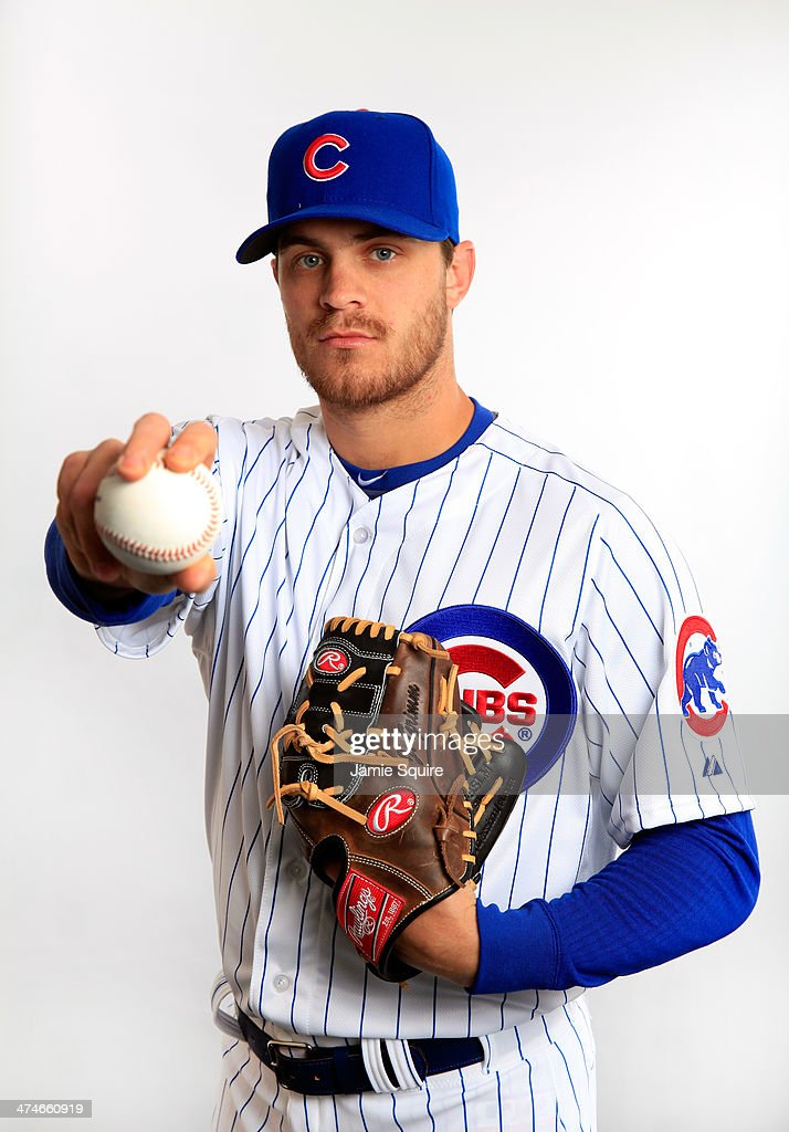 Pitcher Justin Grimm poses during Chicago Cubs photo day on February 24 2014 in Tempe Arizona