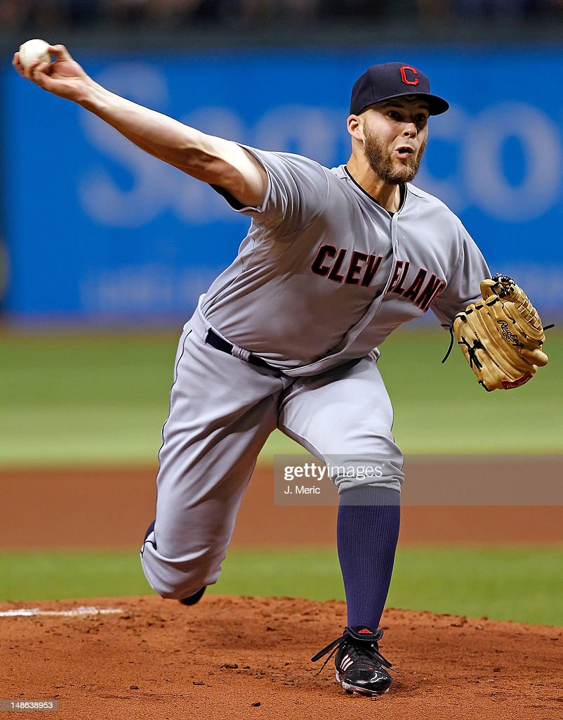 Pitcher <a gi-track='captionPersonalityLinkClicked' href=/galleries/search?phrase=Justin+Masterson&family=editorial&specificpeople=4950538 ng-click='$event.stopPropagation()'>Justin Masterson</a> #63 of the Cleveland Indians pitches against the Tampa Bay Rays during the game at Tropicana Field on July 18, 2012 in St. Petersburg, Florida.