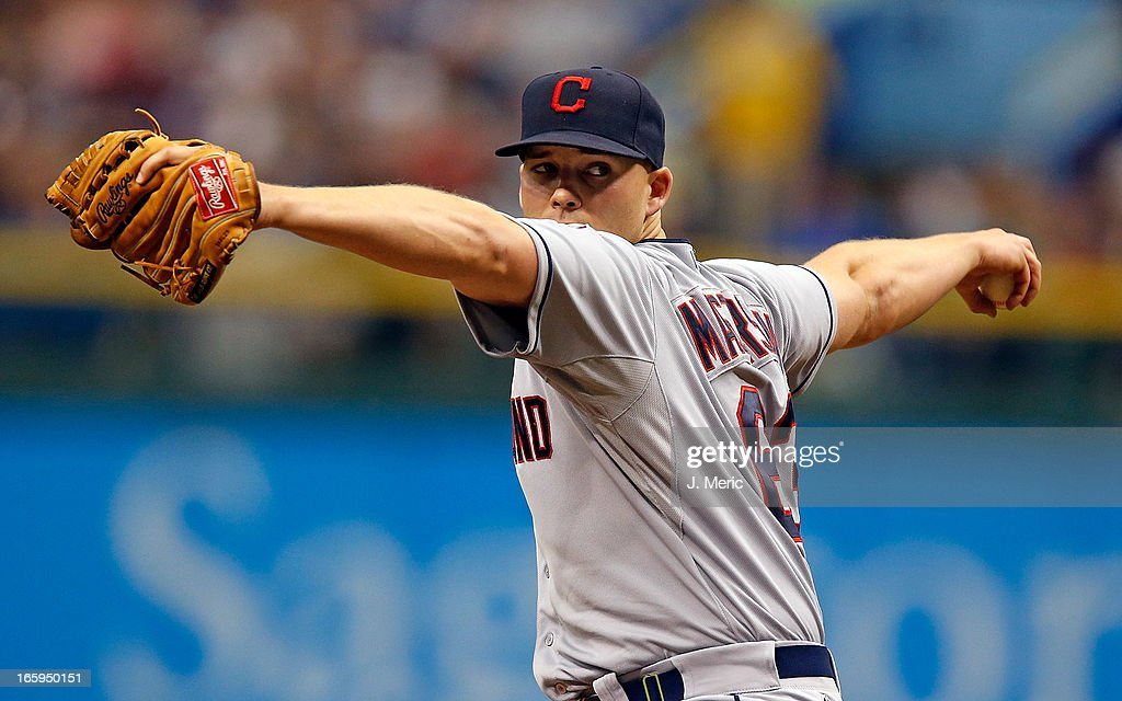 Pitcher <a gi-track='captionPersonalityLinkClicked' href=/galleries/search?phrase=Justin+Masterson&family=editorial&specificpeople=4950538 ng-click='$event.stopPropagation()'>Justin Masterson</a> #63 of the Cleveland Indians pitches against the Tampa Bay Rays during the game at Tropicana Field on April 7, 2013 in St. Petersburg, Florida.