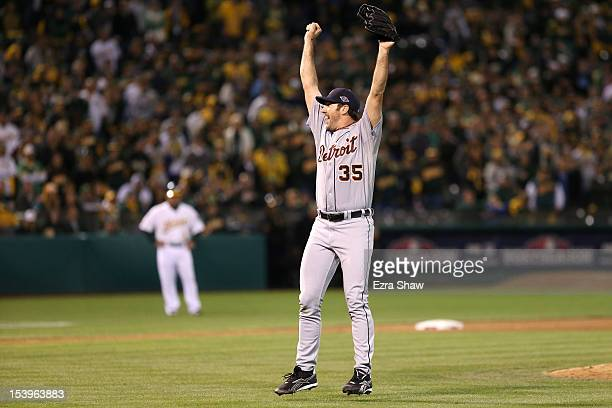 Pitcher Justin Verlander of the Detroit Tigers celebrates after the Tigers defeat the Oakland Athletics 60 in Game Five of the American League...