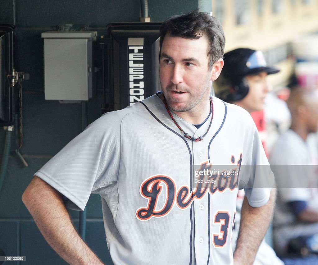 Pitcher <a gi-track='captionPersonalityLinkClicked' href=/galleries/search?phrase=Justin+Verlander&family=editorial&specificpeople=556723 ng-click='$event.stopPropagation()'>Justin Verlander</a> #35 of the Detroit Tigers in the dugout after giving up a no-hitter in the seventh inning against the Houston Astros at Minute Maid Park on May 5, 2013 in Houston, Texas.