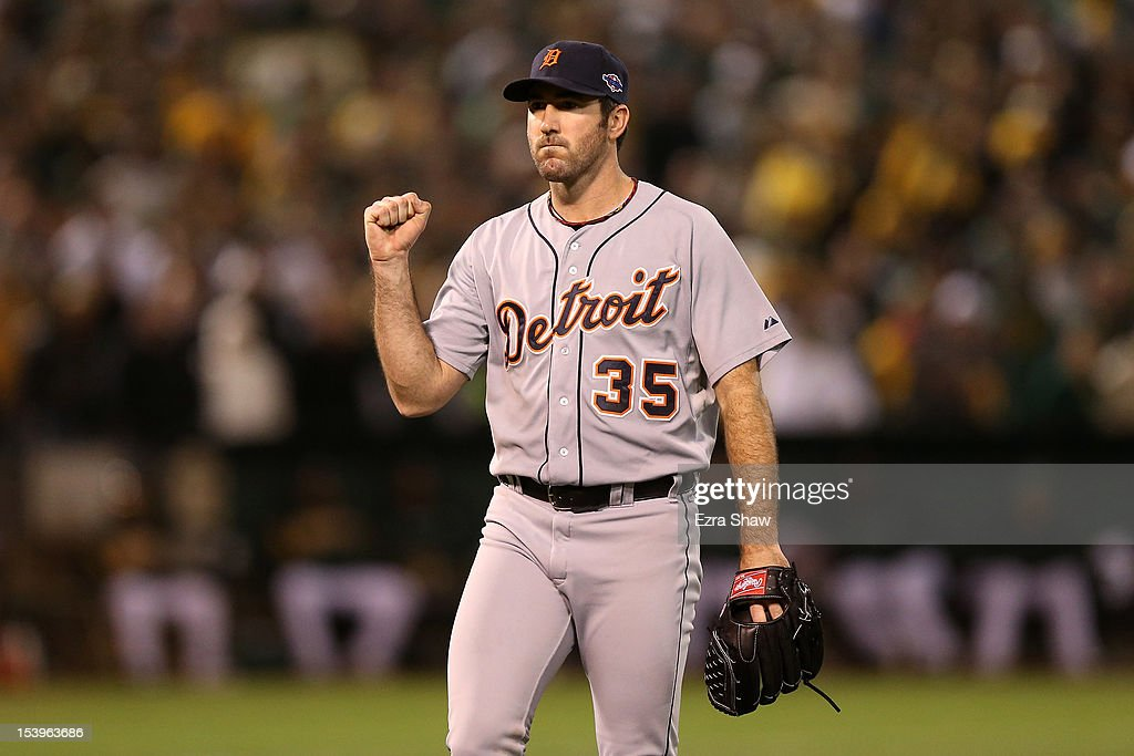 Pitcher Justin Verlander #35 of the Detroit Tigers reacts after Coco Crisp #4 of the Oakland Athletics to ground out to end the eighth inning in Game Five of the American League Division Series at O.co Coliseum on October 11, 2012 in Oakland, California.