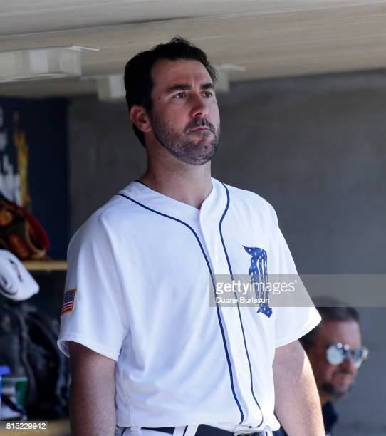 Pitcher Justin Verlander of the Detroit Tigers watches from the dugout during a game against the Cleveland Indians at Comerica Park on July 2 2017 in...