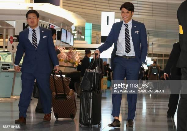 Pitcher Kazuhisa Makita of Japan Infielder Hayato Sakamoto are seen on departure for the United States for the World Baseball Classic Championship...
