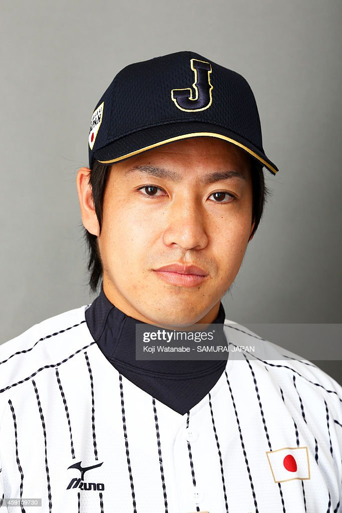 Pitcher <a gi-track='captionPersonalityLinkClicked' href=/galleries/search?phrase=Kazuhisa+Makita&family=editorial&specificpeople=10508674 ng-click='$event.stopPropagation()'>Kazuhisa Makita</a> #35 of Samurai Japan poses for photographs during the Samurai Japan Portrait Session on November 8, 2014 in Fukuoka, Japan.