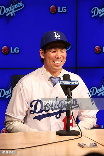 Pitcher Kenta Maeda is introduced to the Los Angeles Dodgers at Dodger Stadium on January 7 2016 in Los Angeles California